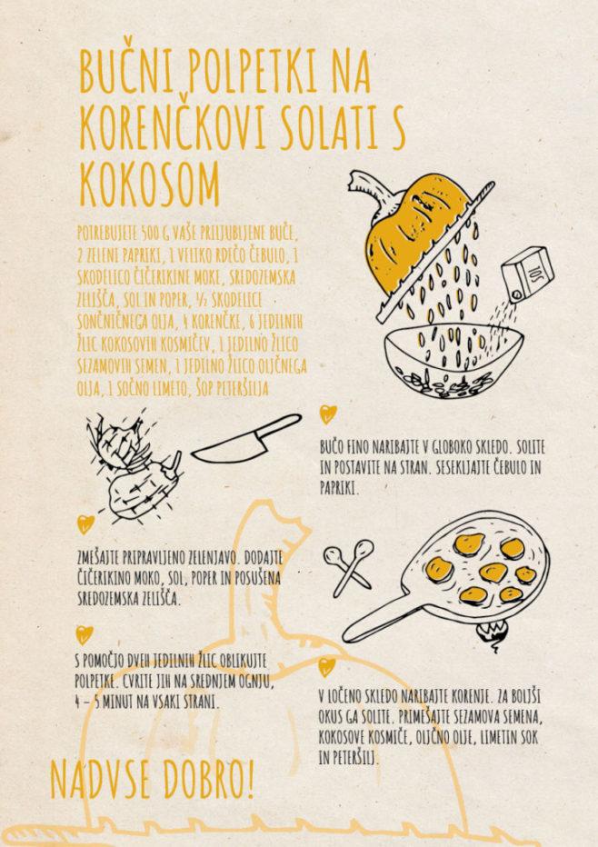 REPeat food-zine Bučni polpetki na korenčkovi solati s kokosom