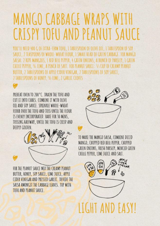 REPeat food-zine - mango cabbage wraps with crispy tofu and peanut sauce