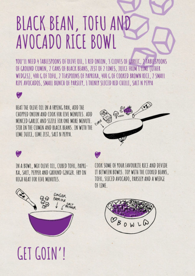 REPeat food-zine - black bean tofu and avocado rice bowl